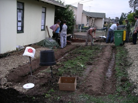 Water catchment for yet-to-be planted fruit trees